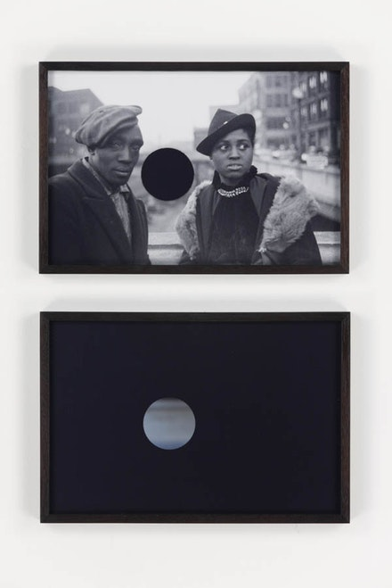 Lisa Oppenheim, <em>Killed Negatives, After Walker Evans</em>, 2015. digital c-prints 8 5/8 x 26 7/8 inches; 21.9 x 68.2 cm (overall) 8 5/8 x 12 5/8 inches; 21.9 x 32.1 cm (each panel framed) Edition of 4, 2 APs Courtesy the artist and Tanya Bonakdar Gallery, New York
