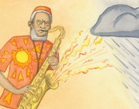 <em>Pharoah Sanders...with a downpour of his own.</em> Illustration: Megan Piontkowski