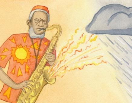 <em>Pharoah Sanders...with a downpour of his own.</em> Illustration: Megan Piontkowski