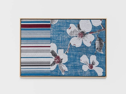 Lisa Oppenheim, <em>Jacquard Weave (Apple Blossoms)</em>, 2017. Jacquard woven cotton, mohair and linen textile in wood frame 32 x 47 inches; 81.3 x 119.4 cm (framed) 30 1/2 x 45 1/2 inches; 77.5 x 115.6 cm (unframed) Edition of 1; 1 AP. Courtesy the artist and Tanya Bonakdar Gallery, New York