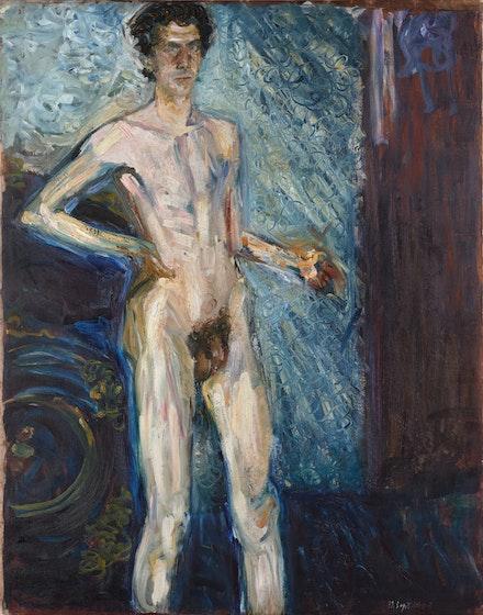 Richard Gerstl (1883-1908)<i>Nude Self-Portrait</i>, September 12, 1908, Oil on canvas, 140.5 x 119.5 cm, Leopold Museum.