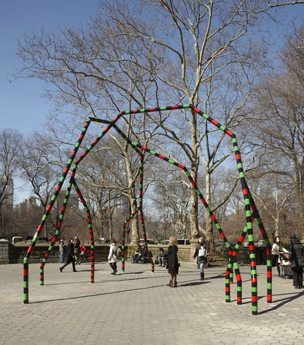 Eva Rothschild, <em> Empire,</em> 2011. painted steel. (600 x 986 x 690 cm) Installation view Doris C. Freedman Plaza, Central Park, New York, 2011. Courtesy of The artist &amp; Public Art Fund.
