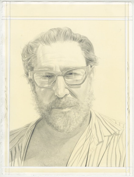 Portrait of Julian Schnabel by Phong Bui. Pencil on paper.