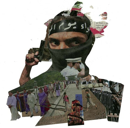 <i>ISIS and Shinto</i>, 2014 from Newspaper Heads, Collage, 30 x 28 cm, &copy; 2016 by Sarah Tulloch, From the book <em>ObjectImage</em> published by Daylight Books