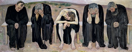 Ferdinand Hodler, <em>The Disappointed Souls (Les âmes déçues)</em>, 1892, Oil on canvas, 120 × 299 cm, Kuntsmuseum Bern, Staat Bern. Photo credit: Courtesy Kuntsmuseum Bern, Staat Bern