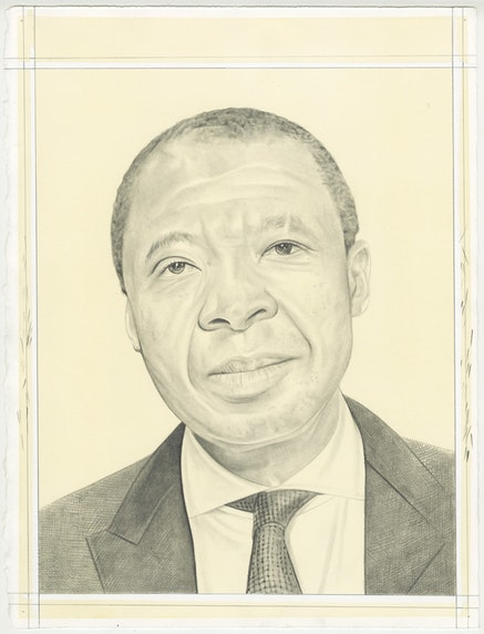 Portrait of Okwui Enwezor by Phong Bui. Pencil on Paper. 2017