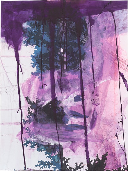 Julian Schnabel, <em>Walt Whitman (Waterfall)</em>, 2016, Ink on pigment print on paper, 51 x 38 in. &copy;  Julian Schnabel Studio. Courtesy Almine Rech Gallery