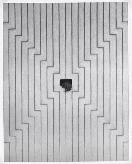 #5 (112 hand through hole in aluminum ptg). From Hollis Frampton, <em>The Secret World of Frank Stella, </em> 1958-1962. Gelatin silver print. 9 7/16 in. x 7 7/16 in. (23.97 cm x 18.89 cm). Gift of Marion Faller, Addison Art. Courtesy of Addison Gallery of American Art, Phillips Academy, Andover, MA / Art Resource, NY