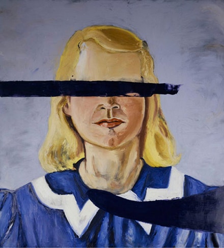 Julian Schnabel, <em>Large Girl with No Eyes</em>, 2001. Oil and wax on canvas, 162 x 148 in. &copy; Julian Schnabel Studio