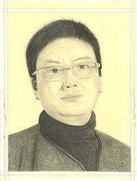 Portrait of Lin Tianmiao, pencil on paper by Phong Bui.