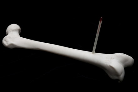 Lin Tianmiao, <em>Thermometer</em>, 2017. White marble and thermometer, 5.5 x 16.3 x 3.9 inches. © Lin Tianmiao. Courtesy Galerie Lelong & Co.