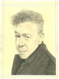Portrait of Andres Serrano, pencil on paper by Phong Bui.