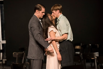 Michael Strecker, Azusa Seyama, Scott Jennings in <i>Café Müller</i>. Photo: Stephanie Berger.