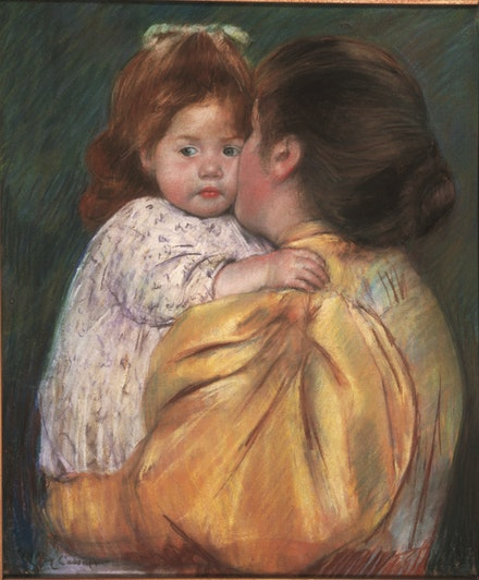 Mary Cassatt, <em>Mother and Child (Maternal Kiss)</em>, 1896. Pastel on paper, 22 x 18 in. Courtesy the Philadelphia Museum of Art.