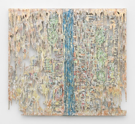Diana Al-Hadid, <i>Split Stream</i>, 2017. Polymer gypsum, fiberglass, steel, plaster, pigment, tape, gold and copper leaf, 58 x 64 x 3 inches. Courtesy the artist and Marianne Boesky Gallery, New York and Aspen. © Diana Al-Hadid. Photo: Object Studies.