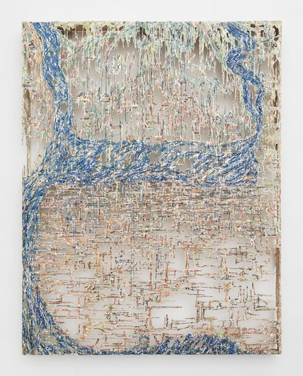 Diana Al-Hadid, <i>Woven City</i>, 2017. Polymer gypsum, fiberglass, steel, plaster, tape, pigment, gold and copper leaf, 108 x 84 1/4 x 5 3/4 inches. Courtesy of the artist and Marianne Boesky Gallery, New York and Aspen. © Diana Al-Hadid. Photo: Object Studies.