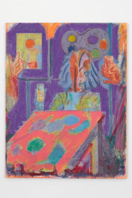 "Michael Berryhill, <i>The Interrogation</i>, 2017. Oil on linen, 77"" x 60""."