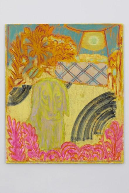 "Michael Berryhill, <i>Skeptic & Sun</i>, 2017. Oil on linen, 77"" x 65""."