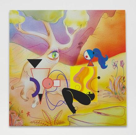 Ad Minoliti, <i>G.S.F.C. #4</i>, 2017. Acrylic on printed canvas, 38.2 x 38.2 in. Courtesy Cherry and Martin, New York.