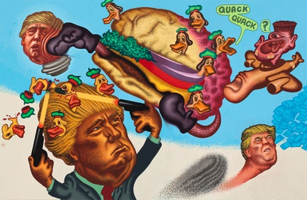 Peter Saul, <i>Quack-Quack, Trump</i>, 2017. Acrylic on canvas, 78 x 120 in. © Peter Saul. Courtesy Mary Boone Gallery, New York.