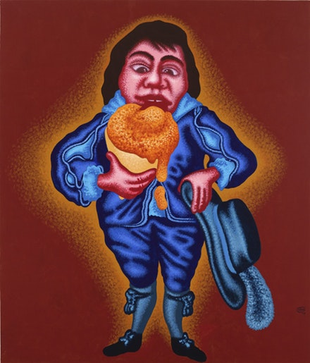 Peter Saul, <i>Blue Boy with Ice Cream Cone</i>, 2017. Acrylic on canvas, 84 x 72 in. &copy; Peter Saul. Courtesy Mary Boone Gallery, New York.