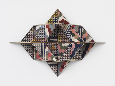 Sanford Biggers, <i>Khemetstry</i>, 2017. Antique quilt, birch plywood, gold leaf. 70 x 97 x 24 inches. Courtesy the artist and Marianne Boesky Gallery, New York and Aspen. © Sanford Biggers. Photo credit: Object Studies.