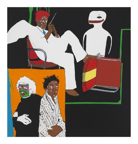 Rosalyn Drexler, <i>Hello and Goodbye (Art History: Warhol and Basquiat)</i>, 1988. Acrylic and paper collage on canvas, 59 x 56 1/2 in. © 2017 Rosalyn Drexler / Artists Rights Society (ARS), New York and Garth Greenan Gallery, New York.