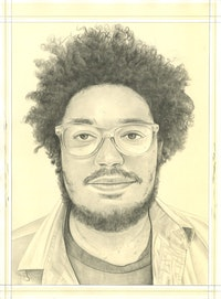 Portrait of Andrew Ross, pencil on paper by Phong Bui.