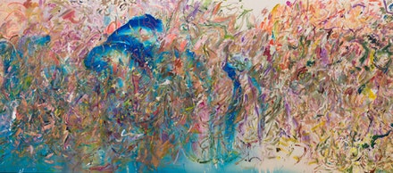Larry Poons, <em>Turned His Head</em>, 2017, acrylic on canvas. Courtesy Larry Poons studio and Yares Art.