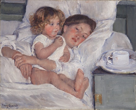 Mary Cassatt, <em>Breakfast in Bed</em>, 1897. Oil on canvas, 23 x 29 in. The Huntington Library, Art Collections, and Botanical Gardens. Gift of the Virginia Steele Scott Foundation.