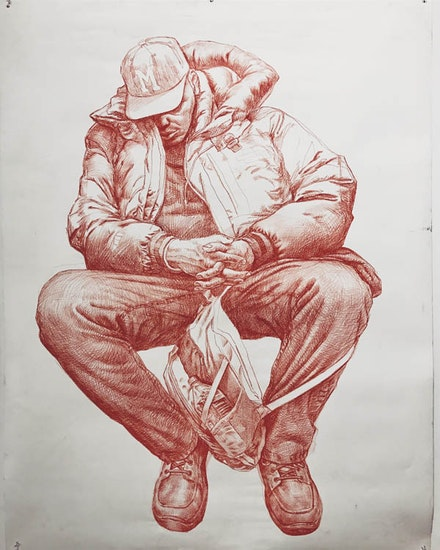 Guno Park, <em> Large subway sketch in red ballpoint, </em>2017. Courtesy the artist.