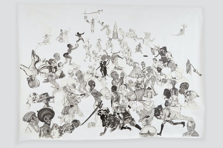 Kara Walker, <em>Christ's Entry into Journalism</em>, 2017. Sumi ink and collage on paper, 140 x 196 inches. © Kara Walker, courtesy of Sikkema Jenkins & Co., New York.