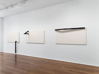 Installation view of <em>Mira Schendel: Sarrafos and Black and White Works</em>. Courtesy Hauser & Wirth.