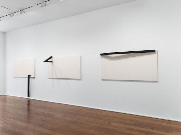 Installation view of <em>Mira Schendel: Sarrafos and Black and White Works</em>. Courtesy Hauser & Wirth.