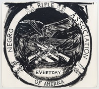 Mark Thomas Gibson, <em>NRA</em>, 2017, Ink on paper, 54 1/2 x 61 inches. Courtesy of Fredericks & Freiser, NY.