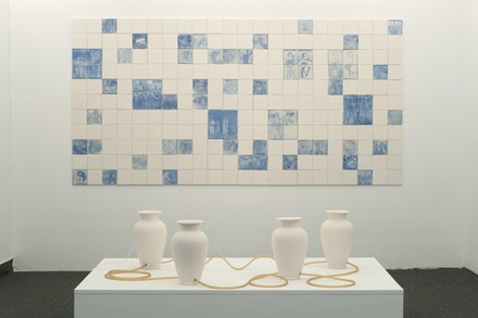Installation view of Tiffany Jaeyeon Shin, <em> Like Water and Oil Never Assimilating, </em> courtesy of the AC Institute.