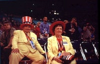 Republicans in native dress, photographed at Madison Square Garden, August 30, 2004, by David Levi Strauss.
