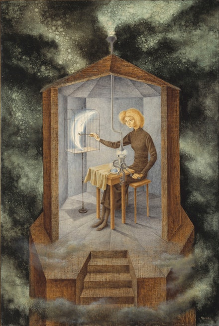 <p>Remedios Varo, <em>Papilla estelar</em>, (1958) Oil on board 36 x 24 inches (91 x 61 cm). Courtesy of the Gallery Wendi Norris, San Francisco.</p>