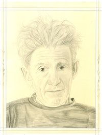 Portrait of Larry Poons, pencil on paper by Phong Bui.