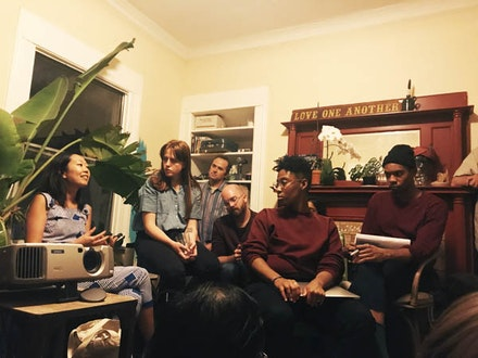 <p>Speakers at the inaugural salon of Living Room Light Exchange's fourth season included Christy Chan (left) and members of The Black Aesthetic: Leila Weefur (second to the right) and Ryanaustin Dennis (right). Oakland, September 19, 2017. Photo by Sophia Wang.</p>