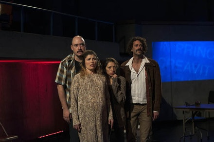 Luis Moreno, Tania Molina, Laura Butler Rivera, David Skeist in Caborca's <em>Distant Star. </em>Written by Javier Antonio González, Directed and Co-Conceived by Milikowsky, Based on the novel by Roberto Bolaño. Photos by Marcos Toledo