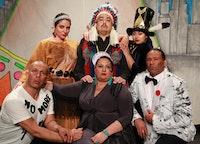 <em>Don't Feed the Indians</em>, performers: (standing, left to right): Danielle Soames (Mohawk/Kahnawake Nations), Kevin Tarrant (Hopi/Ho-Chunk Nations), Henu Josephine Tarrant (Hopi/Ho-Chunk/Kuna/Rappahannock Nations). (sitting, left to right): Nicholson Billey (Delaware/Choctaw Nations), Murielle Borst-Tarrant (Kuna/Rappahannock Nations), John Scott-Richardson (Haliwa-Saponi Tribe) (Photo: Theo Cotes)