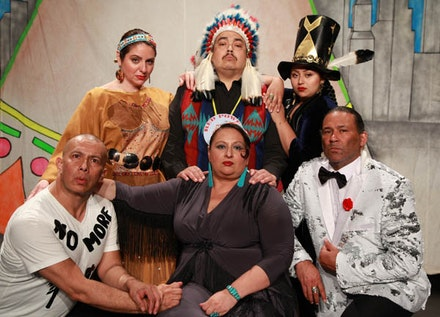 <em>Don't Feed the Indians</em>, performers: (standing, left to right): Danielle Soames (Mohawk/Kahnawake Nations), Kevin Tarrant (Hopi/Ho-Chunk Nations), Henu Josephine Tarrant (Hopi/Ho-Chunk/Kuna/Rappahannock Nations). (sitting, left to right): Nicholson Billey (Delaware/Choctaw Nations), Murielle Borst-Tarrant (Kuna/Rappahannock Nations), John Scott-Richardson (Haliwa-Saponi Tribe) (Photo: Theo Cotes)