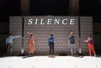 Big Dance Theater, <em>17c. </em>(2017) Paul Lazar, Kourtney Rutherford, Cynthia Hopkins, Aaron Mattocks, and Elizabeth DeMent. Photo by Johanna Austin.