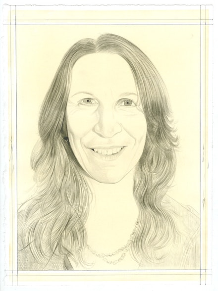 Portrait of Janet Biggs, pencil on paper by Phong Bui.