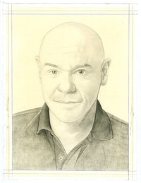 Portrait of Walton Ford, pencil on paper by Phong Bui.