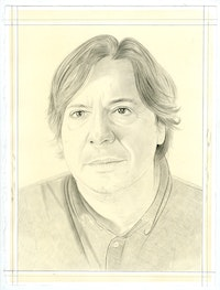 Portrait of George Condo, pencil on paper by Phong Bui.