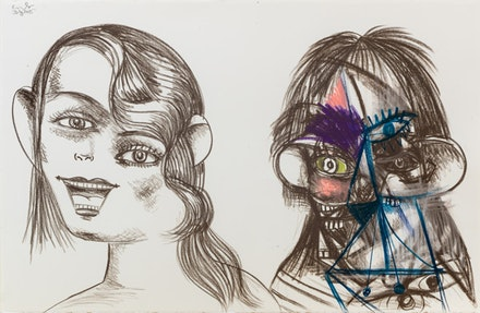 George Condo, <em>Double Heads Drawing 7</em>, 2015. Charcoal, pastel, and graphite on paper, 26 1/4 x 40 1/4 in. Private collection. Courtesy Skarstedt Gallery and Sprüth Magers.