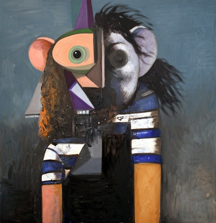 George Condo, <em>Paralytic Robot</em>, 2014. Oil on linen, 67 x 65 inches. Courtesy the artist.