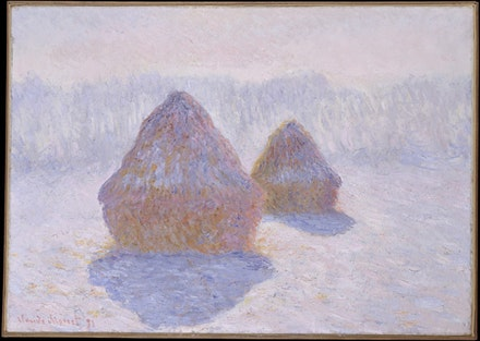 Claude Monet, <em>Haystacks (Effect of Snow and Sun)</em>, 1891. Oil on canvas, 25 3/4 x 36 1/4 inches. Collection of the Metropolitan Museum of Art, H. O. Havemeyer Collection, Bequest of Mrs. H. O. Havemeyer, 1929.